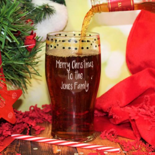 Personalised Merry Christmas Tulip Glass